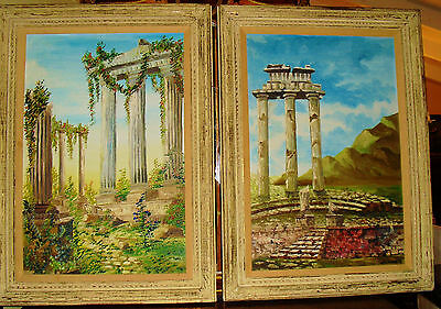 """A Pair Of Large Decorative Paintings Of Grecian Garden & Columns 44"""" X 31"""" Each"""