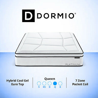 Queen Mattress Bed Euro Top Pocket Spring 7 Zone Cool Gel-infused Memory Foam