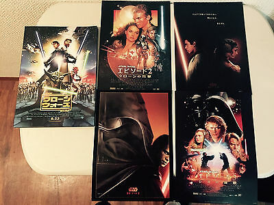 STAR WARS Japan cinema flyer poster x5 1 2 3 CLONE WARS rare SET MINT collection