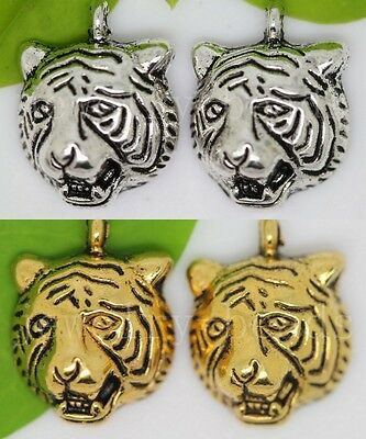 10/40/200pcs Antique Silver Lovely Tiger Head Jewelry Charms Pendant DIY 14x10mm