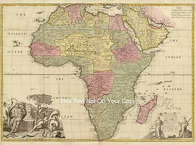 "17x13"" Africa Reproduction Vintage Color Old Colour 17c Map African Continent"