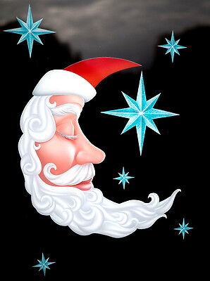 Santa Moon & Stars Static Cling Window Clings - Christmas Window Decoration