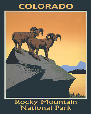 Goat Rocky Mountain National Park Colorado Travel 16X20 Vintage Poster FREE S/H