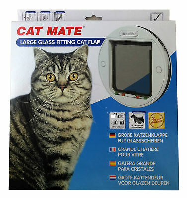 Pet Mate Large Glass White Cat Dog Flap Self Fitting Silent Weather Proof 357W
