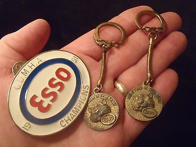 vintage Esso Tony the Tiger keychains and enamel badge lot of 3 pieces