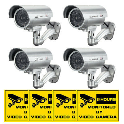 4 Pack IR Bullet Fake Dummy Surveillance Security Camera CCTV & Record Light