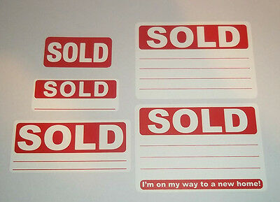 Red SOLD Stickers / Swing Tag Labels / Sticky labels - 4 Sizes To Choose From