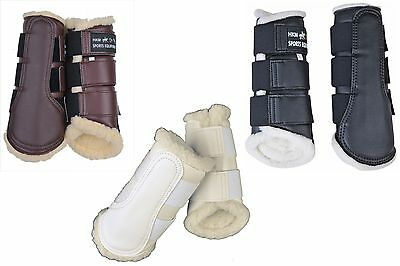 Hkm Dressage/brushing Boots Fleece Lined White/blk S Xl Mpn 8585