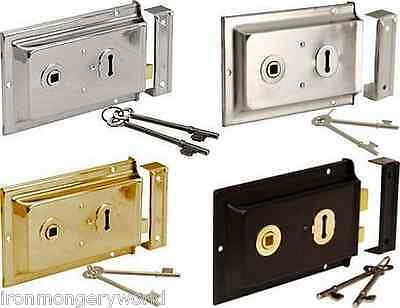 """Old Victorian Style Double Handed Flanged Rim Door Lock latch 6"""" x 4"""""""