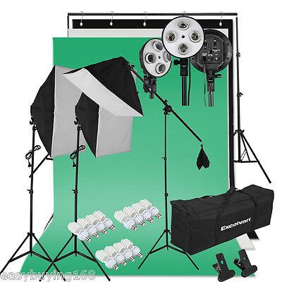 2000W Photo Studio Eclairage Continu Kit Softbox+Trépied+3 Toiles de Fond+Lampe