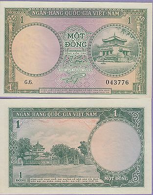 Vietnam South 1 Dong Banknote/Currency 1956 Uncirculated Condition Cat#1-3777