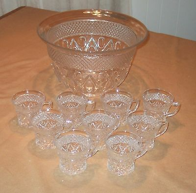 """Imperial Glass Cape Cod 160-20B 12"""" Crystal Punch Bowl + 9 160-37 Punch Cups"""