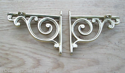 PAIR OF Solid brass Antique Retro Bathroom book shelf Wall Bracket Support