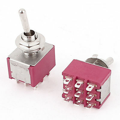 2pcs AC120V/5A 250V/2A 3PDT 9 Pin ON-ON 2 Positions Latching Toggle Switch