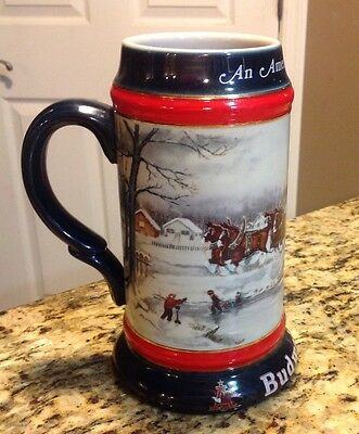 1990 BUDWEISER Beer A Perfect Christmas Clydesdales Horse Stein Mug Collectible