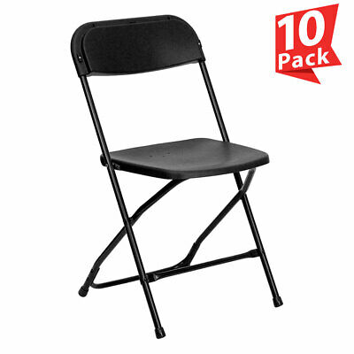 10-Pack Black Plastic Folding Chair TentAndTable Commercial Wedding Party Chairs