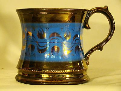 Large Antique Staffordshire Blue Band Pink Lustre Copper Lustre Mug 19th c