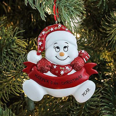 Snow Baby-Red  Personalized Baby`s 1st Christmas Tree Ornament NEW