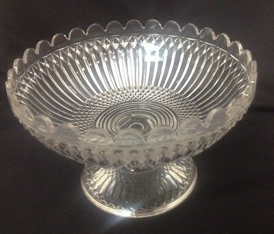 EAPG Flint Glass Open Compote- Sawtooth & Rib w/scalloped Top
