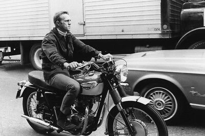 Steve Mcqueen Triumph Motorbike By Mustang Rare Poster