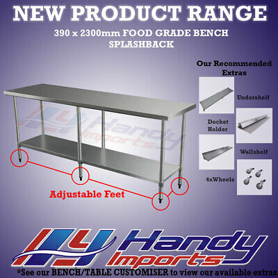 2300 x 390mm NEW 304 STAINLESS STEEL WORK BENCH KITCHEN FOOD PREP CATERING TABLE