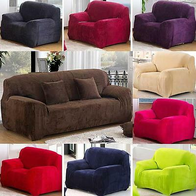Super Thick Solid Colour Plush Pillow Couch Stretch Sofa Cover 1 2 3 4 Seater