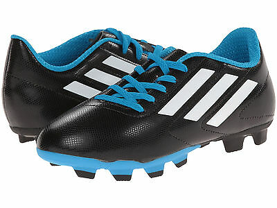 Kids Adidas Conquisto FG Soccer Cleat B25593 Black White Blue 100% Authentic New