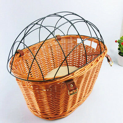 Handmade Wicker Bicycle Dog Basket Bike Cat Puppy Small Pet Carrier Travel Kep