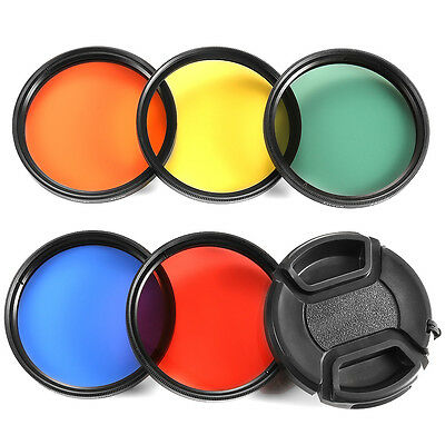 58MM Color Filter Kit(Blue/Yellow/Orange/Red/Green )+Lens Cap with Leash+Pouch