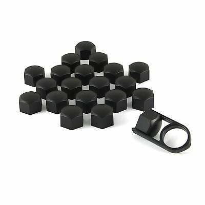 Set 20 19mm Black Car Caps Bolts Covers Wheel Nuts For Ford Transit Van Bus