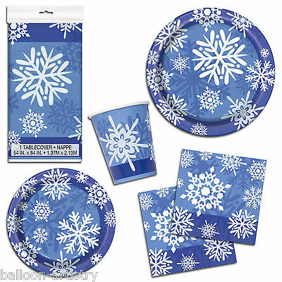 Christmas Party Elegant Blue Winter Snowflakes Napkins Cups Tableware Listing