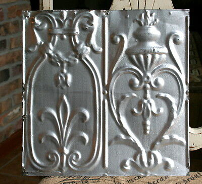 """12"""" Antique Tin Ceiling Tile - Silver Paint -- Beautiful and Ornate Design -- A1"""