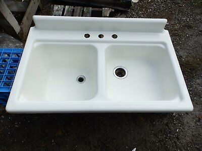 "Antique Cast Iron Porcelain 42"" Farm Sink Double Basin Vtg Deep Shallow 5017-15"