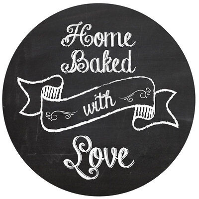 Home baked with love labels, 60mm diameter, great idea for your home baked gifts