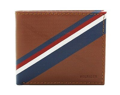 New Tommy Hilfiger Men's Brown Tan Leather Double Billfold Credit Card Wallet
