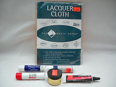 **lacquer Cloth & Slide & Cork Grease For Brass Musical Instruments, Brand New**
