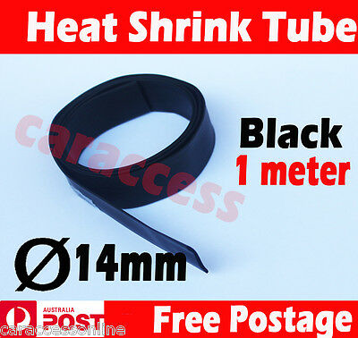 Heat Shrink tube Heatshrink tubing Sleeving BLACK Dia=14mm 1meter  AU STOCK
