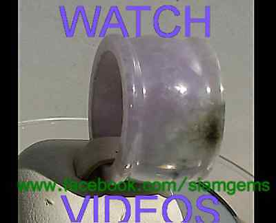 Jadeite A Jade Burmese Violet&Green Thick Ring size 10 US. 26x16x3mm 50 carats