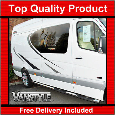Vw Volkswagen Crafter Lwb 06+ 76Mm Side Bar & Steps Quality Stainless Steel Bars
