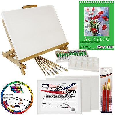 33pc Artist Acrylic Painting Set Wood Studio Table Easel, Paint & Accessories