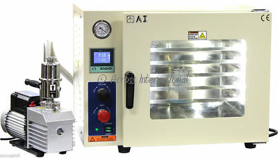 Ai 220V 5 Sided Gas-Filled 1.9 CF Vacuum Oven w/ 6 cfm EasyVac Pump