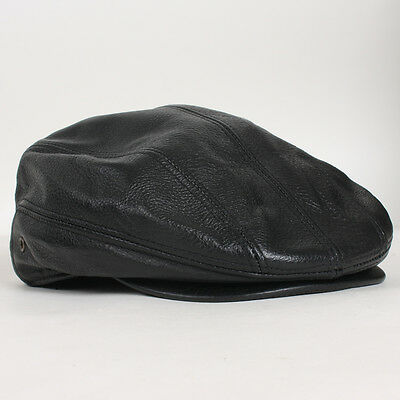 0e007ca45ef New Unisex Genuine Leather Newsboy Driving Golf Flat Ivy Ascot Snap Brim  Hat Cap