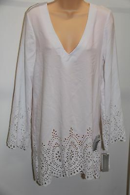 0075085668 NWT KENNETH COLE Swimsuit Cover Up Tunic Sz L XL WHT -  24.49