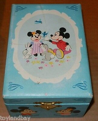 OLD Vintage Disney Mickey & Minnie Mouse Musical Jewelry Box Working Condtion