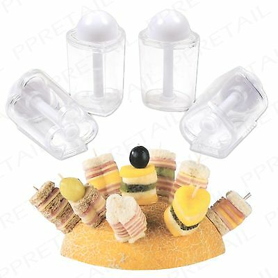 4Pc Canape Maker +MINI SANDWICH+ Heart/Spade/Clubs/Oval Appetizer/Starter Party
