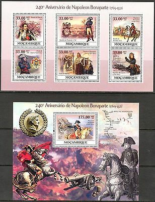 Mozambique 2009 Napoleon Bonaparte Horses Military sheet of 6 + S/S MNH**