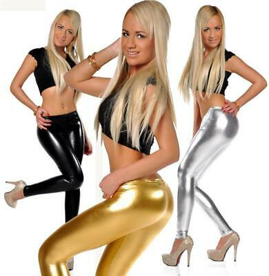 Leggings Metallic Wet Look Leder Optik Gr. S M L XL XXL 3XL 4XL, 905
