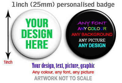 Personalised badge button 25mm Hen, Stag, Birthday, Party, gifts Custom