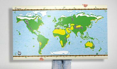 Kids Map with re stick able stickers fun  awesome maps wall poster whiteboard