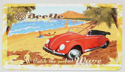 Licenced VW Red Beetle Catch The Perfect Wave Metal Postcard